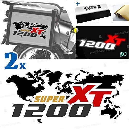 2 adhesivos compatibles con maletas laterales para XT 1200 Z Super Tenere para maletas originales y Touratech All y Givi Trekker Outback (negro-rojo)