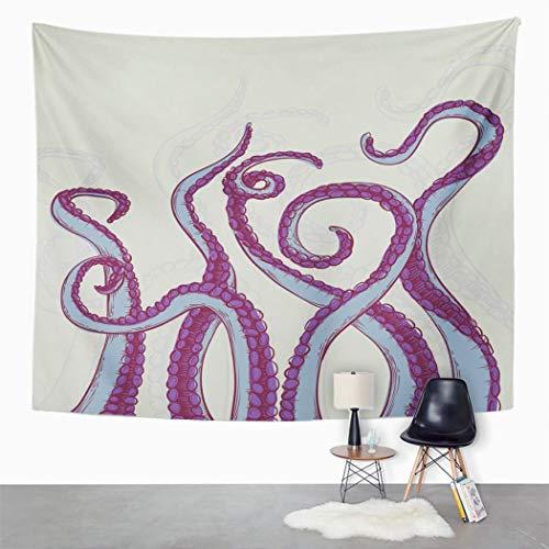 Y·JIANG Colorido tapiz dibujado, tentáculos pulpo Kraken Abyss criature gigante hogar dormitorio decorativo tapiz grande, manta para colgar en la pared para sala de estar, dormitorio, 60 x 50 pulgadas