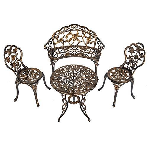Sundale Outdoor 4-Pieces Patio Bistro Set w/Antique Rose Design, All Weather Cast Alumium Conversation Furniture Set, Bronze