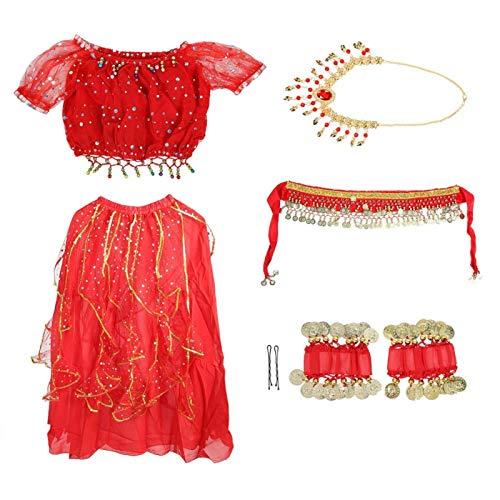 EVTSCAN Vestido de Danza del Vientre para niñas - Conjunto de 9 Piezas Bollywood Indian Folk Niños Traje de actuación árabe Carnaval Traje de Danza del Vientre con Velo para la Cabeza(L-Rojo)