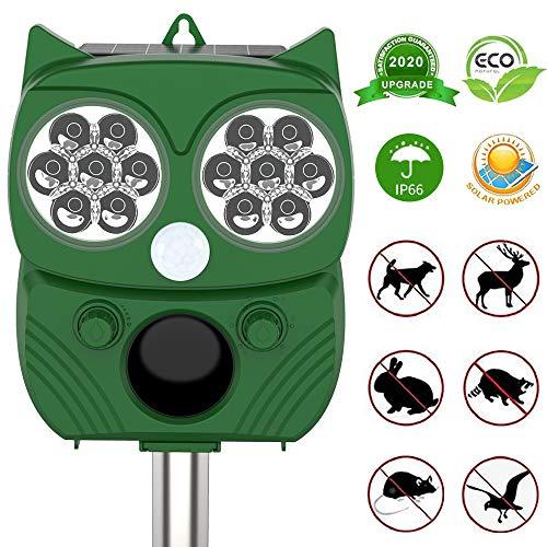 DANGZW Ultraschall Katzenschreck, Solarbetriebener Wasserdichter Ultraschall Tiervertreiber für Katzen, Hunde, Vögel, Füchse im Garten