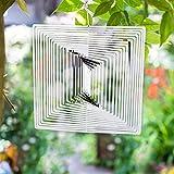 FONDUO - Spinner 3D de acero inoxidable, cuadrado, diseño cinético para jardín, viento Spinner decoración para exterior jardín y decoración de casa, 9,8 pulgadas (multicolor)