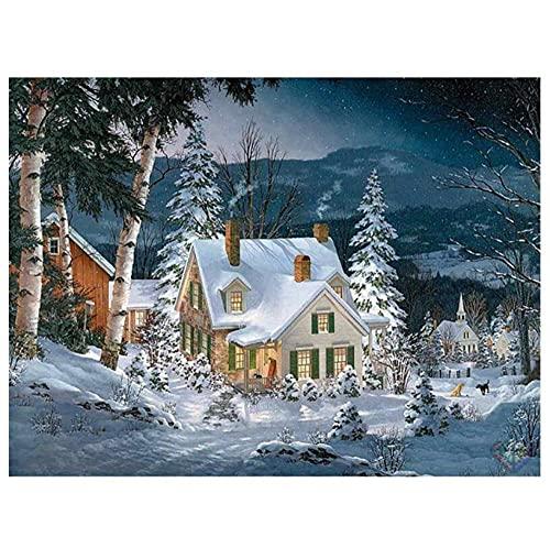 5D Bricolaje Pintura De Diamante Digital Nieve Montaña Árboles Casa Perros Taladro Redondo Completo Mosaico Bordado Punto De Cruz Decoración del Hogar Arte Regalo 40×50cm