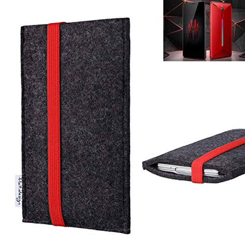 flat.design vegane Handy Tasche Coimbra kompatibel mit Nubia Red Magic Mars - Schutz Hülle Tasche Filz vegan fair rot