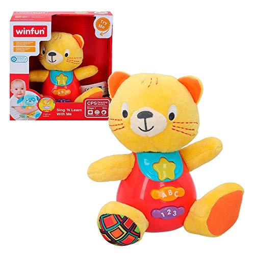 Winfun - Peluche Gatito para bebés que habla & luces de colores - Idioma: español (ColorBaby 85176)