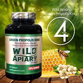 Buy 3 get 1 Free - Wild Apiary Brazilian Green Bee Propolis King Capsule-Non Alcoholic, Wax Free, Sugar Free, 120 Vegetarian Softgel