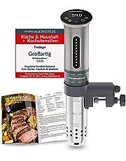 KitchenBoss Sous Vide Garer Stick Precisiekooktoestel, 1100 W, 360 graden circulatie, temperatuurbereik van 40 tot 90 graden Celsius (± 0,1 °C), IPX7 waterdicht, led-touch-display, tot 15 liter volume, incl. 10 vacuümzakken