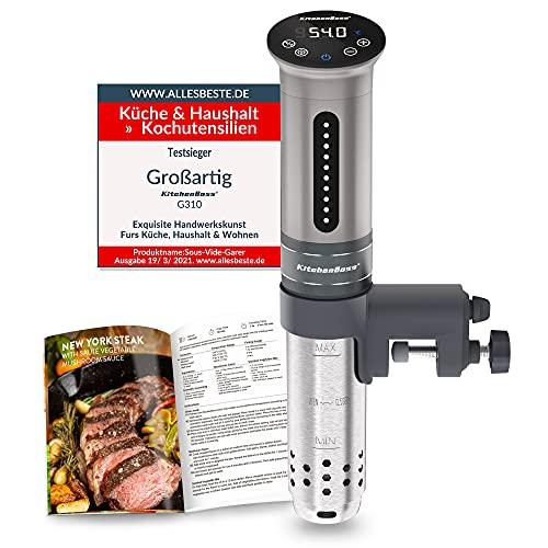 KitchenBoss Sous Vide Garer Stick Präzisionskocher•1100W •360° Zirkulation•40℃-90℃ Temperaturbereich (± 0,1 ° C) • IPX7 Wasserdicht • LED Touch Display• bis 15L Volumen•inkl.10 Stk Vakuumbeutel