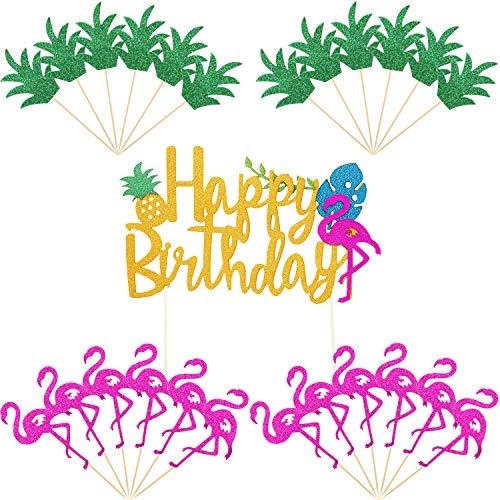 25 Piezas de Piña Cupcake Toppers Flamingo Cake Topper Happy Birthday Cake Picks para Hawaiian Luau Tropical Summer Party Decorations (Conjunto de estilo 2)