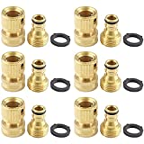 Get Bonsicoky 6 Set Garden Hose Quick Connectors, 3/4 Inch Solid Brass Garden Hose Thread Connectors, Male and Female Water Hose Fittings Just for $23.99