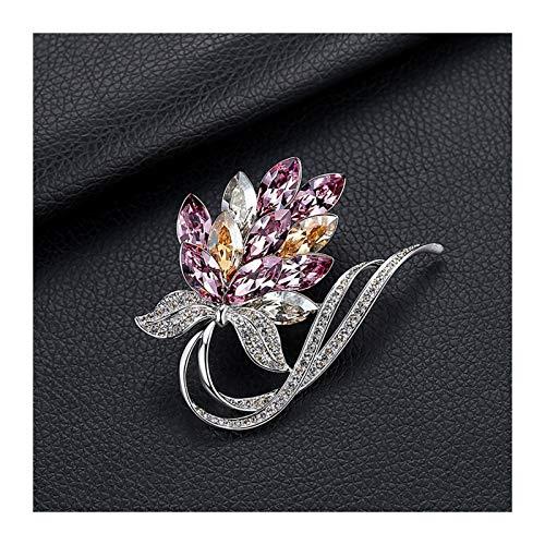 Kronleuchter Blumen-Brosche Damen Accessoires Mantel Seidenschal Anzug Cardigan Corsage (Color : Pink)