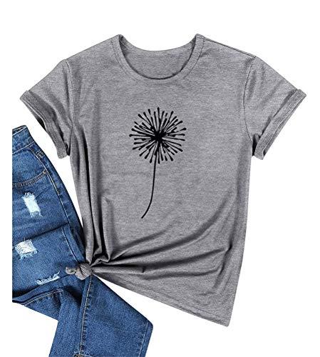 Minetom Damen T Shirt Gänseblümchen Grafik Druck T-Shirt Kurzarm Rundhalsausschnitt Tee Shirts Oberteile Sommer Pusteblume Tops C Grau M