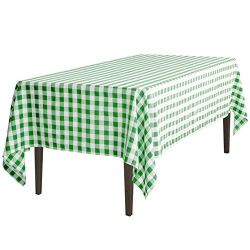 LinenTablecloth 60 x 102-Inch Rectangular Tablecloth Green & White Checker
