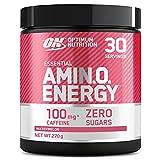 Optimum Nutrition Amino Energy, Pre workout en Poudre, Energy Drink avec Bêta-Alanine, Vitamine C, Caféine et Acides Aminés, Saveur Pastèque, 30 Portions, 270g, l'Emballage Peut Varier