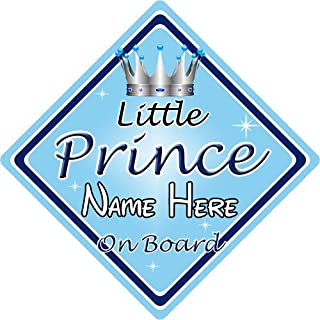 Autoschild, Aufschrift 'Little Prince On Board', personalisierbar, Blau