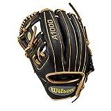 WILSON Sporting Goods 2019A1000DP15Pedroia Passform Baseball Handschuh–Links Hand, Überwurf schwarz/blond, 29,2cm