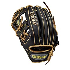 """Wilson A1000 DP15 Dustin Pedroia Model 11.5"""" Baseball Glove 11.5"""" Baseball glove Made with pedroia fit for players with a smaller hand H-Web design Black and blonde Full-Grain leather"""