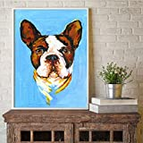 ganlanshu Animal Bulldog Cachorro Imagen Pared Arte Lienzo Pintura al óleo Sala de Estar decoración del hogar,Pintura sin Marco,30X40cm