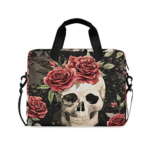 JNlover Retro Sugar Skull Flower Laptop Bag 16 inch, Portable Sleeve Briefcase Laptop Case Notebook Computer Carrying Case Bag for Women Men