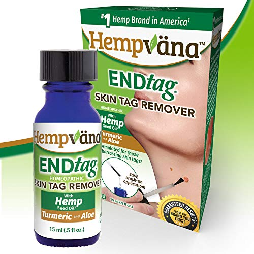 Hempvana EndTag Skin Tag Remover, Enriched with Hemp Seed Oil, Mess-Free, Easy & Painless Skin Tag Removal - Just Brush It On - Great for All Skin Types & Works In Sensitive Areas, 0.5 fl. oz.