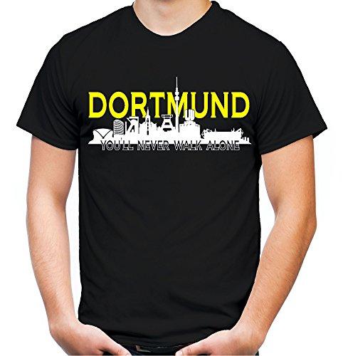 uglyshirt89 Dortmund Skyline T-Shirt | Männer | Herren | Sport | Zeche | Fussball | Ruhrpott | Handball | Volleyball Logo Borussia BVB (XL)