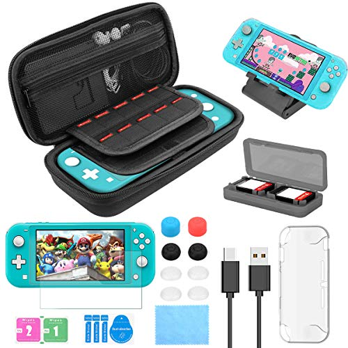 Switch Accessories Kit 17 in 1 for Nintendo Switch Lite, with Switch Carrying Case, Cover Case, Screen Protector Glass, Gaming Card Case, Joy-Con Thumb Grip Caps, Charger Cable, Adjustable Stand