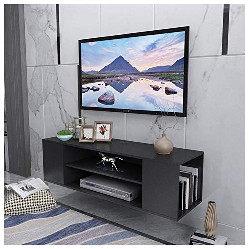 LUKKC Wall Mounted TV Stand 39.4in Modern Wood Media Entertainment Center Console Cabinet Floating Desk Gaming Shelving Unit Storage Hutch with 3 Organizer Shelf Rack Home Office Furniture (3 Tier)