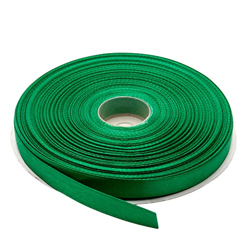 Topenca Supplies 3/8 Inches x 50 Yards Double Face Solid Satin Ribbon Roll, Green