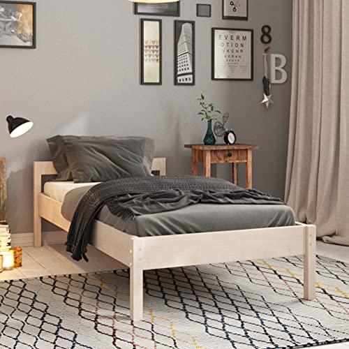 Hansales Enkel Sängram 60x200 cm inkl. Ribbotten – upp till 300 kg – Massivt Trä Sängbotten –80 cm Enkel - Obehandlat björkträ - FSC-certifierad - med Sänggavel