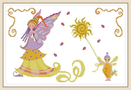 Kit de punto de cruz estampado, OWN4B Summer of Elfos, patrón impreso 11CT 53 x 37 cm Kit de bordado DIY (verano)