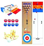 "A Game Sports 3 in 1 Table Top Shuffleboard, Curling Game and Bowling Set (10"" x 40"")