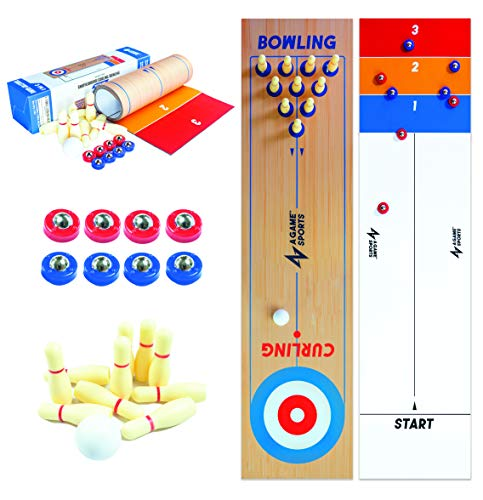 """A Game Sports 3 in 1 Table Top Shuffleboard, Curling Game and Bowling Set (10"""" x 40"""")