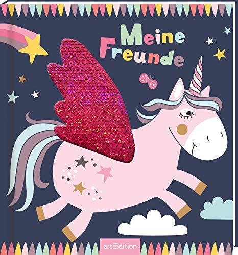 Meine Freunde - Einhorn (mit Wendepailletten): Freundebuch ab 4 Jahren für Kindergarten und Kita, für Jungen und Mädchen