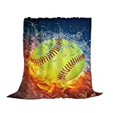 King Dare Fire Softball Fleece Sofa Blanket, Lightweight Travel Blanket, Cozy Plush Keep Warm Flannel Throws Blankets for Baby/Kids/Youth/Adult 50x60 inch