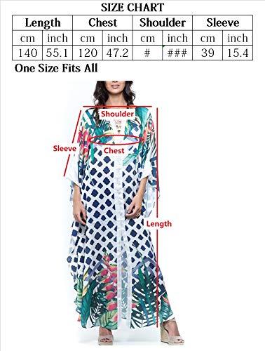YouKD Vestido Floral de Encaje para Mujer Maxi Robe Boho Kimono Suelto Vestido de Bikini de Playa