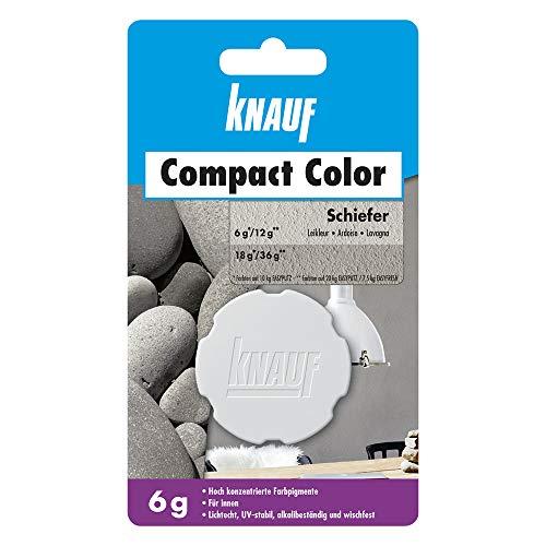 Knauf Compact Colors Farb-Pigmente – Pigment-Pulver zum Einfärben von Putz, nicht staubend, hoch konzentriert und wischfest, Schiefer, 6-g