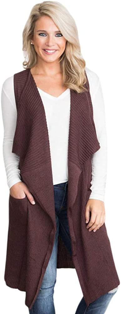 Womens Long Vests Sleeveless Lightweight Open Front Cardigan Knitted Sweater Outwears with Pockets