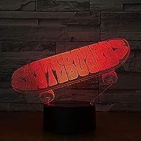 ナイトライト3Dスケートスカルシェイプナイトライトイリュージョンランプ7色のバリエーション装飾ライト子供のおもちゃリモコンでタッチ
