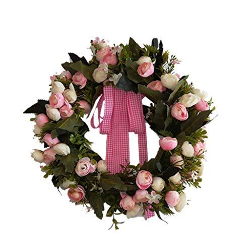 Cgration Künstliche Blumen Blumen Schleifen Kranz Frühlingskranz Outdoor für Haustür Wand Fenster Party Hochzeit Dekor