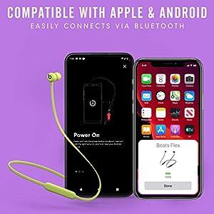 Beats Flex Wireless Earphones – Apple W1 Headphone Chip, Magnetic Earbuds, Class 1 Bluetooth, 12 Hours of Listening Time - Yellow (Latest Model)