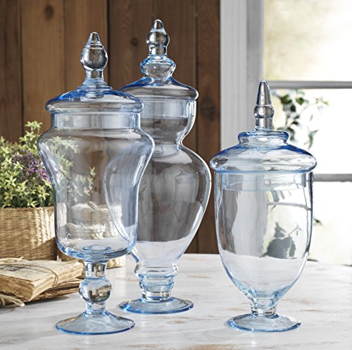 Classic Home Glass Blue Apothecary Jars, Wedding Candy Buffet Containers (Set of 3)
