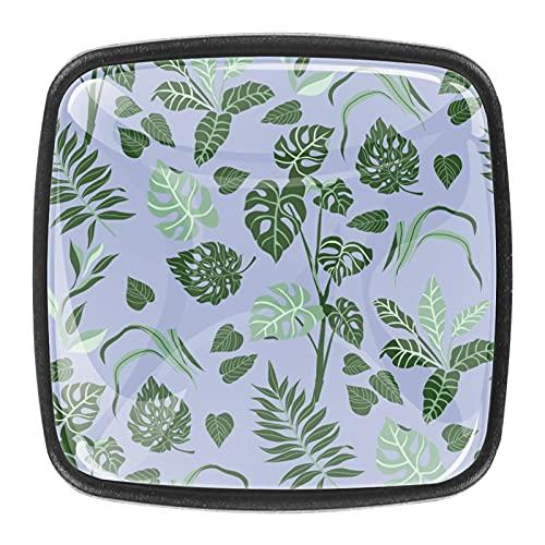 Tiradores cajón cristal 4 piezas perillas gabinete,Hojas de palma ,para puerta cocina escritorio tocador