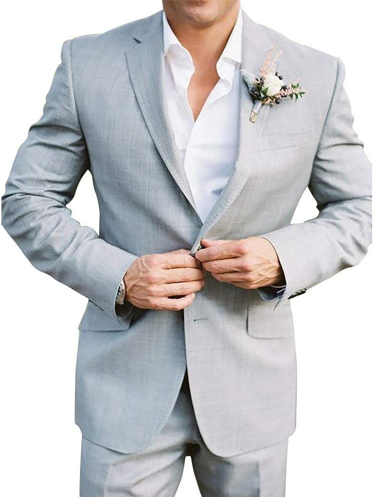 Premium Mens 2-Piece Wedding Dress Tuxedo Slim Fit Dinner Blazer Jacket & Pants