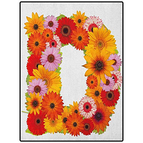 Letter D Non Slip Carpet for Bathroom Laundry Room Alphabet Symbol with Various Different Daisies Chamomiles Colorful Summer Petals Multicolor 54' x 28'