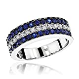 Luxurman Unique 3 Row Sapphire and Diamond Wedding Band 10K Ring (White Gold Size 5)