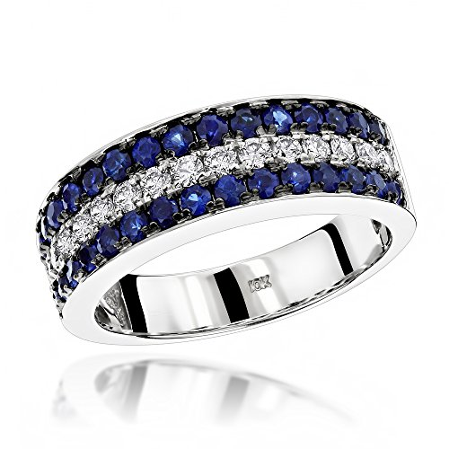 Luxurman Unique 3 Row Sapphire and Diamond Wedding Band 10K Ring (White Gold Size 7)