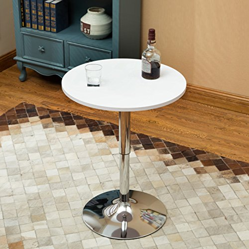 24 Inches Round Bar Table Adjustable Height Chrome Metal and Wood Cocktail Pub Table MDF Top 360°Swivel Furniture (White)