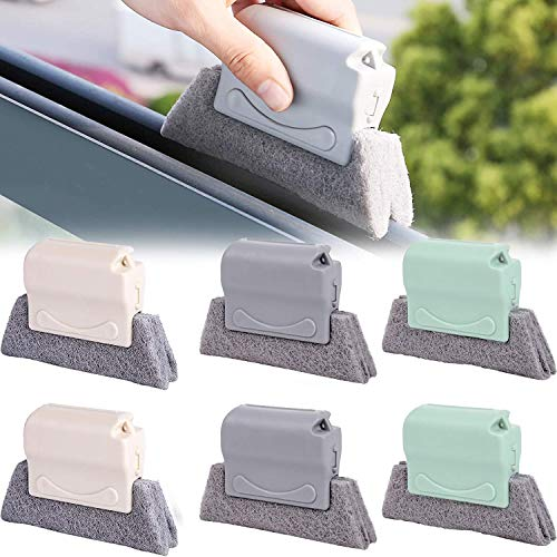 6PCS Creative Groove Cleaning Brush, Window Door Track Cleaning Brushs, Magic Window Cleaning Cloths with Fixed Brush Head for Handheld Multipurpose Quickly Clean All Corners and Gaps