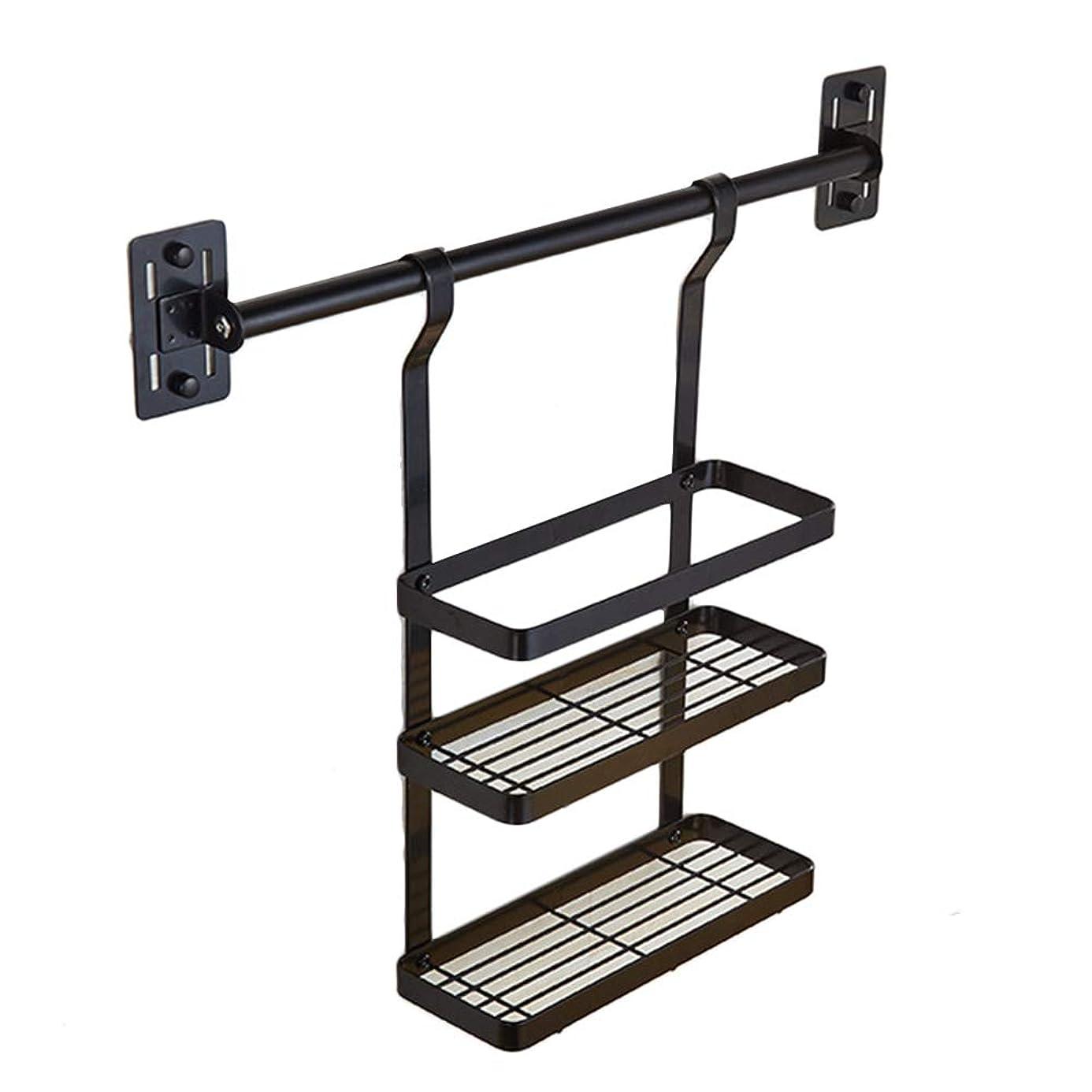 ファイナンス特に確保するCHenXin 棚棚 - ラックラックを浮かべるラックステンレス製の収納ラック3層の箸を置いたキッチン、黒、28×10×45.5cm ==
