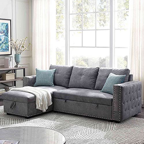 """Tulib 91"""" Reversible Sectional Sleeper Sofa with Storage Chaise, L-Shape Corner Couch with Pulled Out Bed, Nailheaded Design, for Living Room(Gray)"""